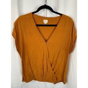 A new day L orange faux wrap v neck shirt